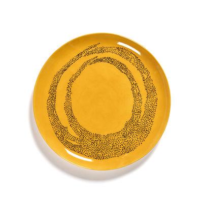 Arts de la table - Assiettes - Assiette Feast Large / Ø 26,5 cm - Serax - Points / Jaune & noir - Grès émaillé
