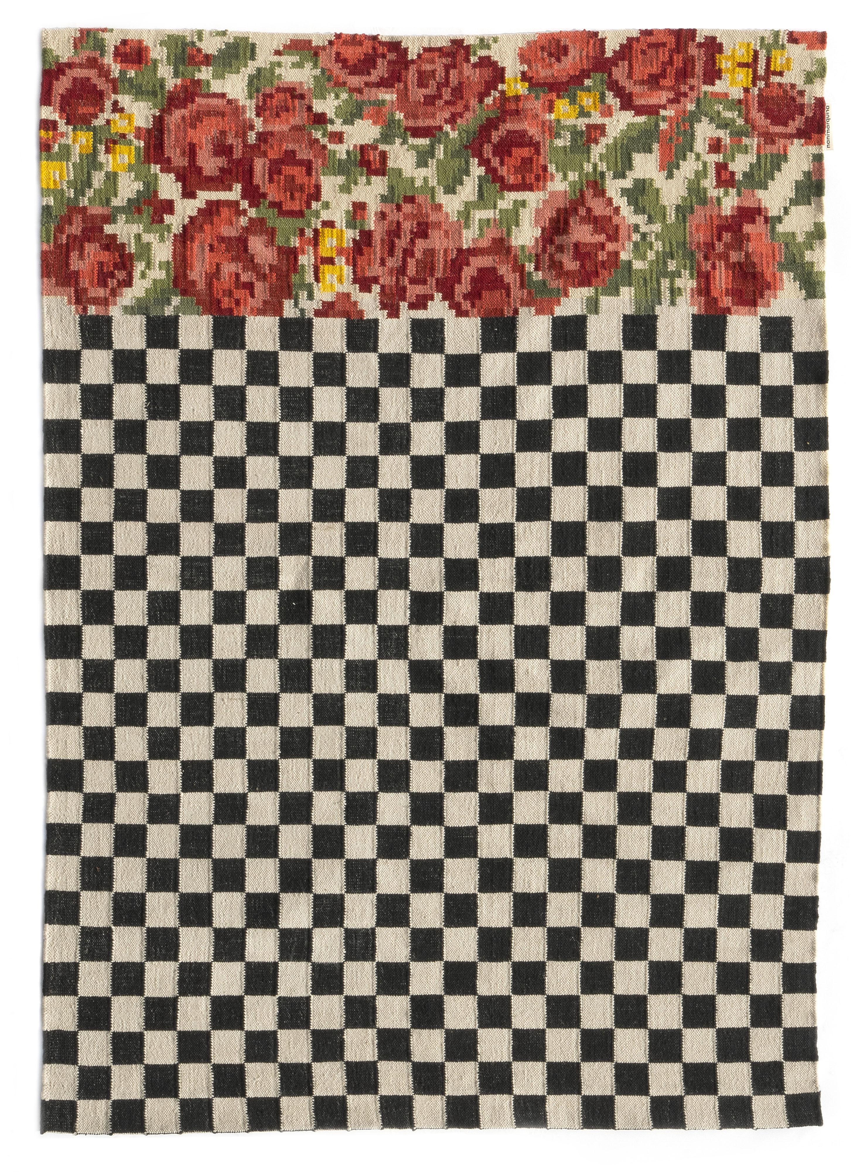 Dekoration - Teppiche - Oaxaca Außenteppich / Handgewebt - 200 x 300 cm - Nanimarquina - 200 x 300 cm / Schwarz & weiß - Polyäthylen