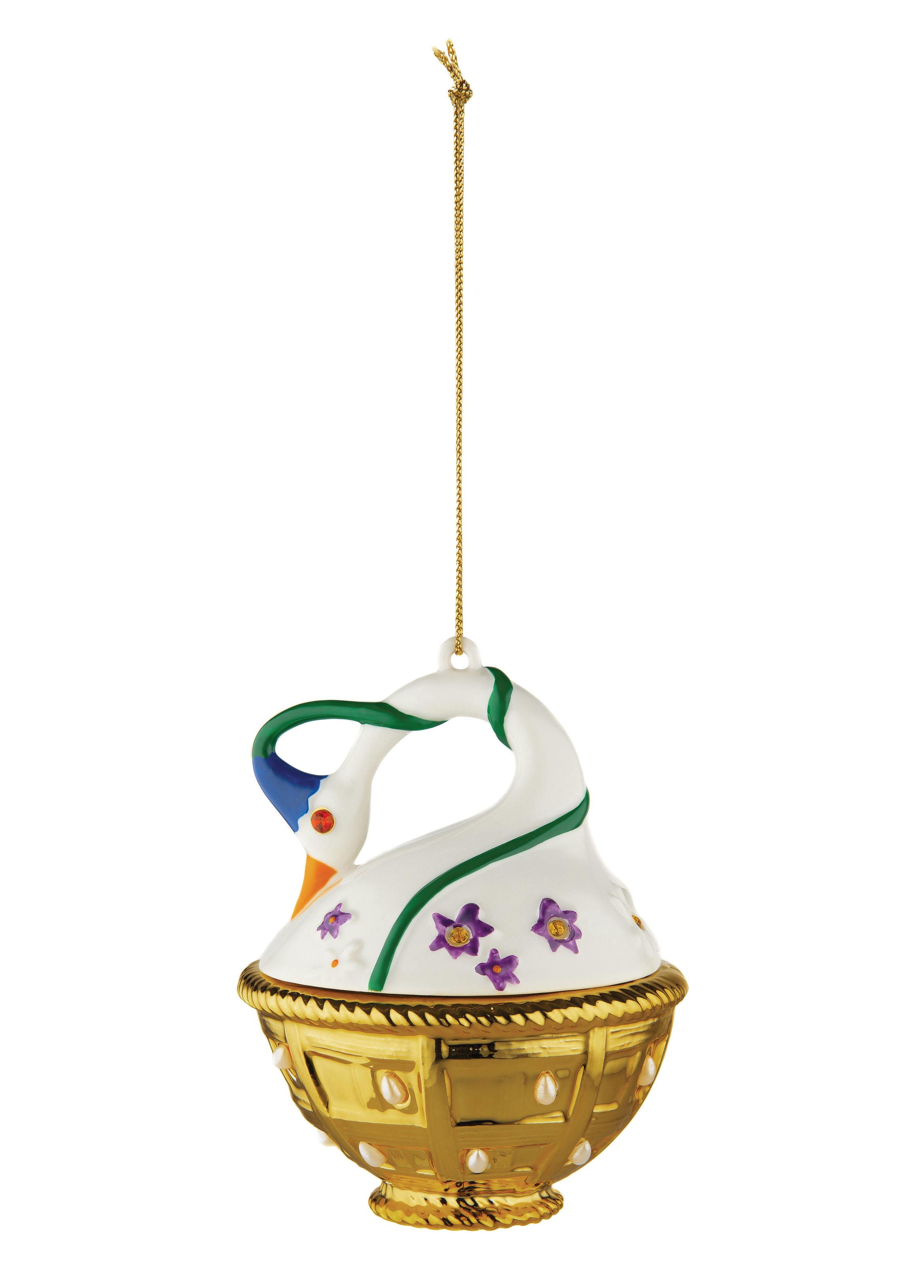 Déco - Objets déco et cadres-photos - Boule de Noël Fleurs de Jorì / Cigno di Primavera - Porcelaine peinte main - Alessi - Cygne - Porcelaine
