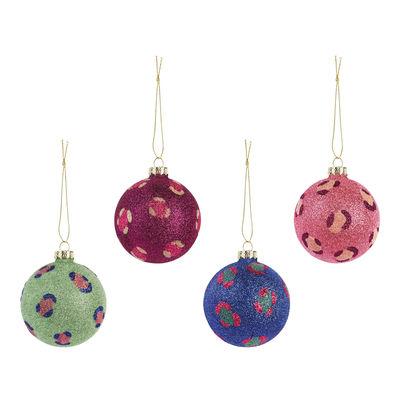 Boule de Noël Leopard Glitter / Set de 4 - & klevering bleu,rose,vert,violet en verre