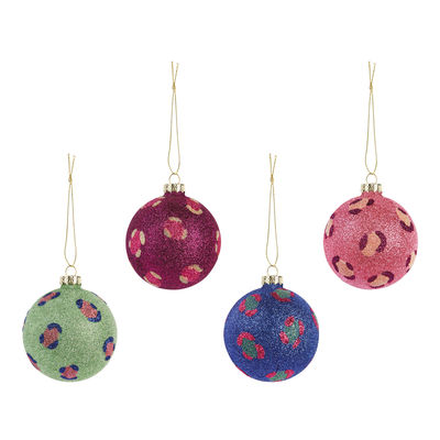 Boule de Noël Leopard Glitter / Set de 4 - & klevering multicolore en verre