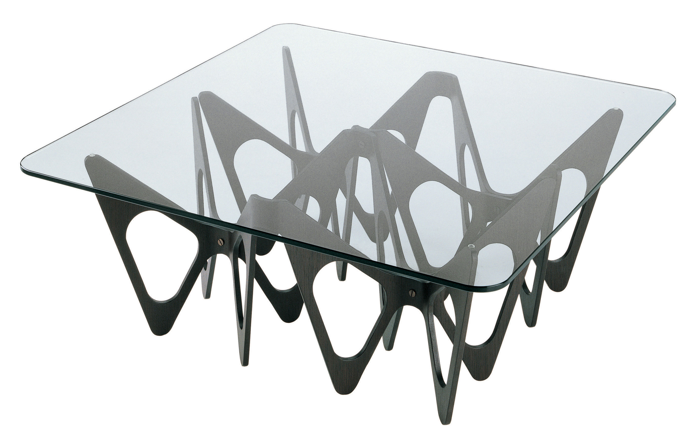 Furniture - Coffee Tables - Butterfly Coffee table - Square by Zanotta - Black - English oak plated plywood, Glass
