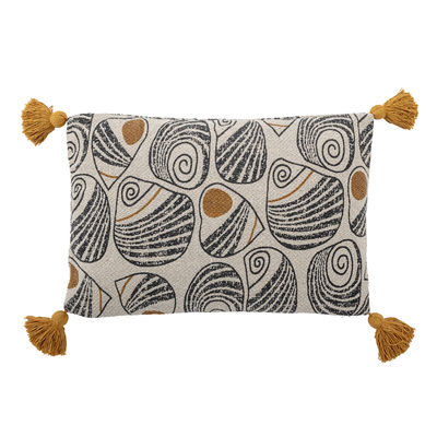Déco - Coussins - Coussin / 60 x 40 cm - Coton recyclé - Bloomingville - Jaune, beige & noir - Coton recyclé