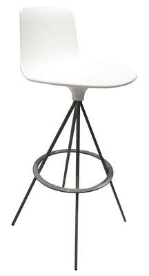 Möbel - Barhocker - Lottus Drehbarer Barhocker 4 Füße - zweifarbig - Enea - Weiß - aluminiumgrau - lackierter Stahl, Polypropylen