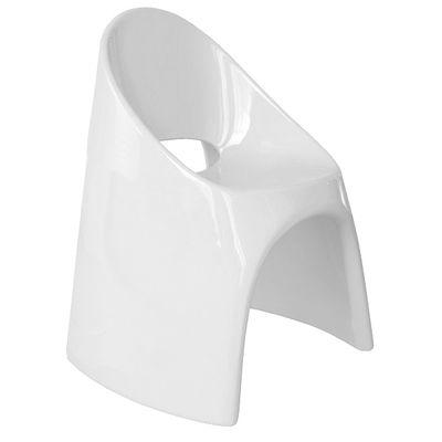 Fauteuil empilable Amélie / Plastique laqué - Slide laqué blanc en matière plastique