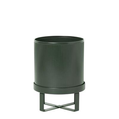 Outdoor - Pots & Plants - Bau Small Flowerpot - / Ø 18 cm - Metal by Ferm Living - Dark green - Galvanized steel