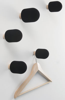 Furniture - Coat Racks & Pegs - Micro Hook - Set of 5 by Moustache - Black - Ashwood, Flocked Foam