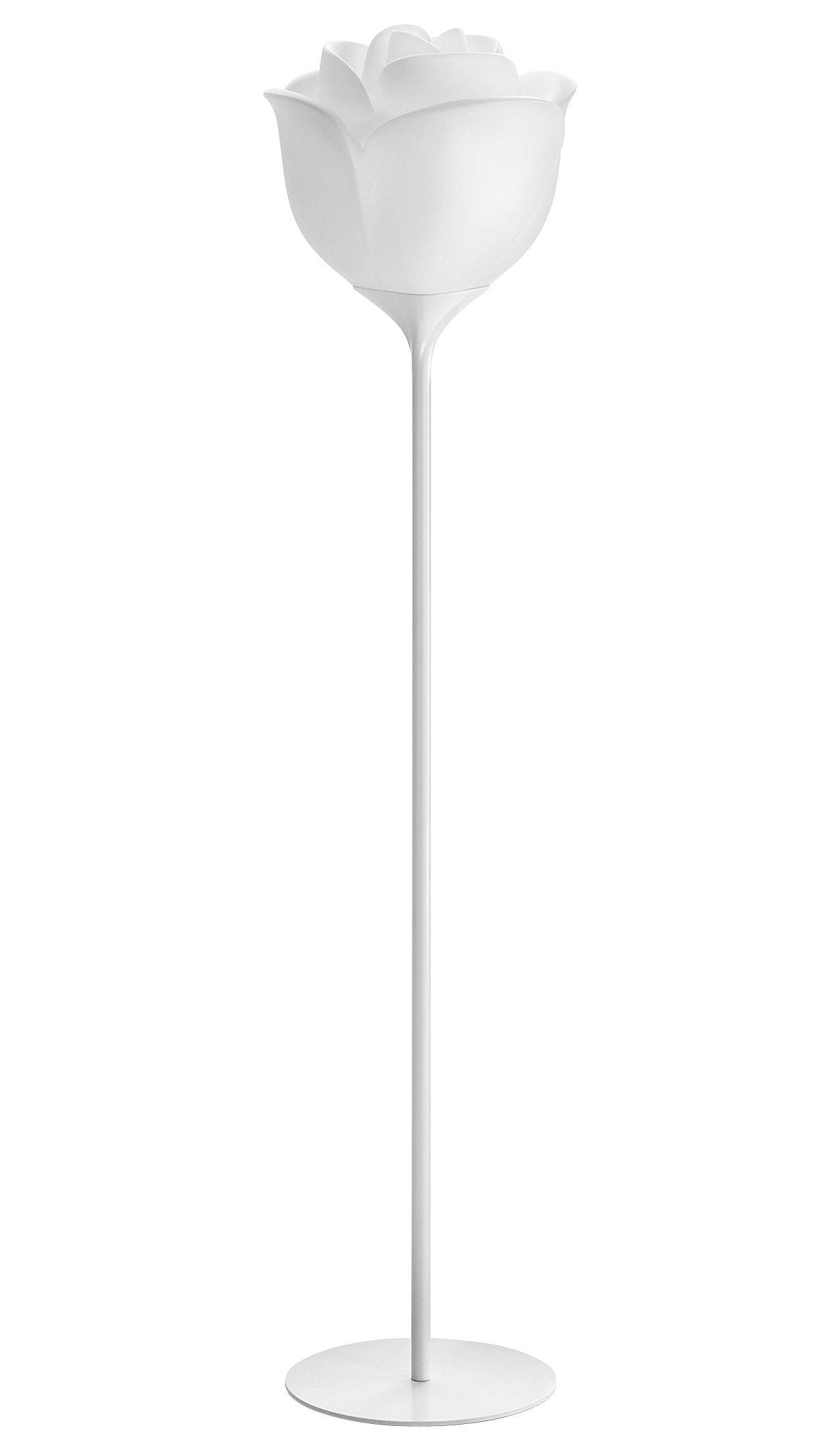 Illuminazione - Lampade da terra - Lampada a stelo Baby Love - da esterno - A 175 cm di MyYour - Piedistallo bianco - Paralume bianco - Acciaio laccato, Materiale plastico