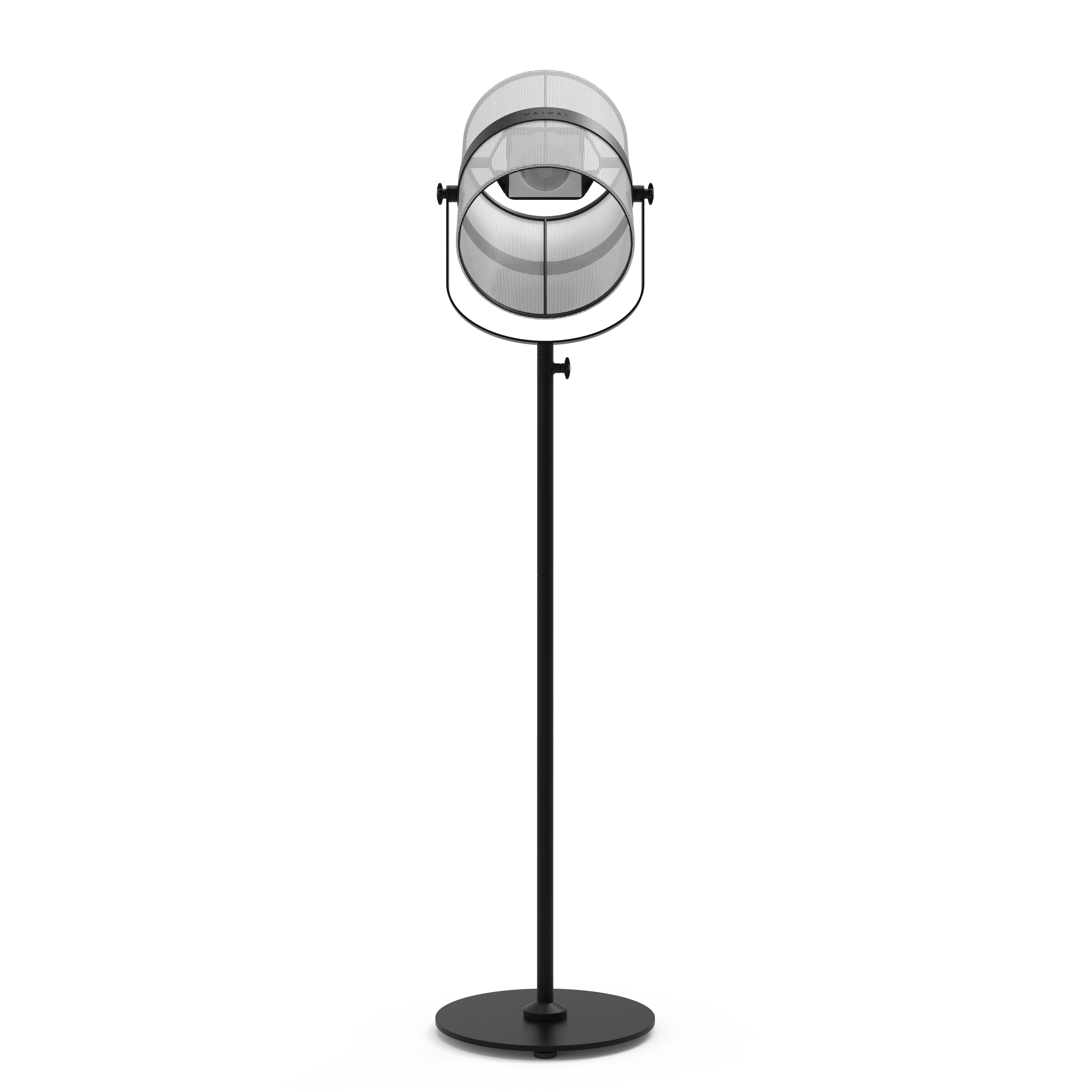 Luminaire - Lampadaires - Lampadaire solaire La Lampe Paris LED / Hybride & connectée - Maiori - Blanc / Pied Charbon - Aluminium peint, Tissu