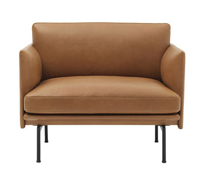 Furniture - Armchairs - Outline Padded armchair - / Leather by Muuto - Cognac leather / Black legs -  Plumes, Foam, Full grain leather, Lacquered aluminium