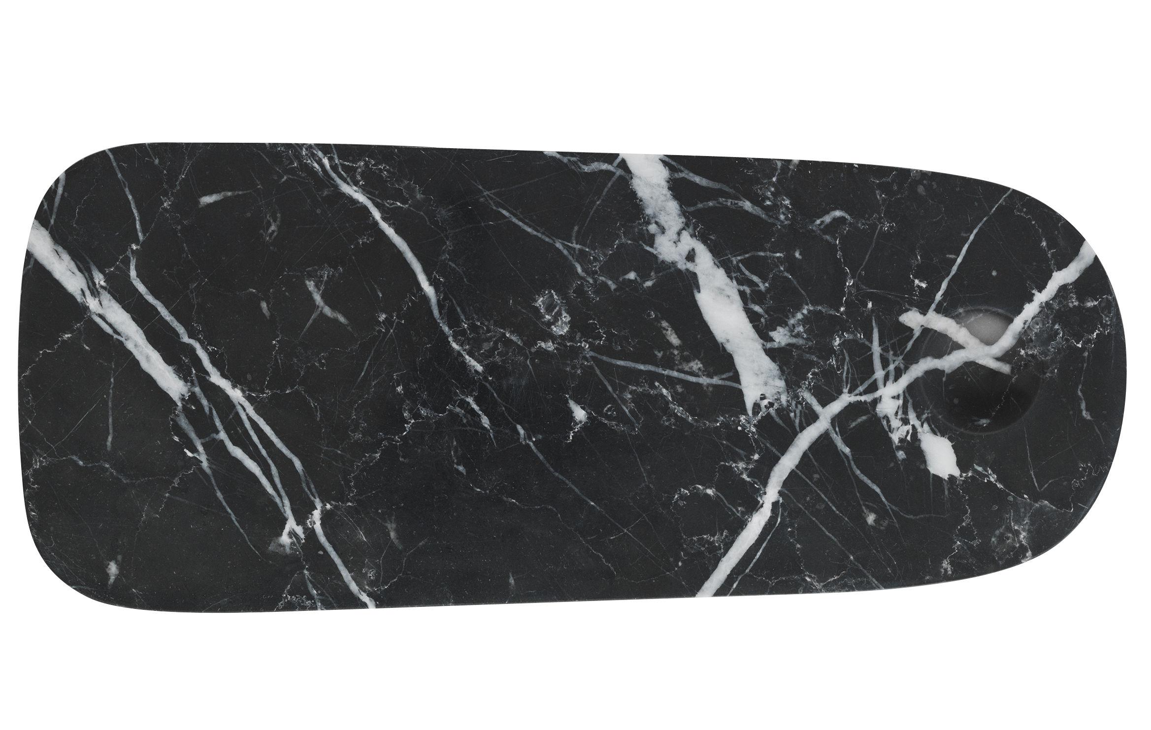 Arts de la table - Plateaux - Planche à découper Pebble Small / Plateau fromages - Marbre - Normann Copenhagen - 12 x 30 cm / Noir - Marbre poli