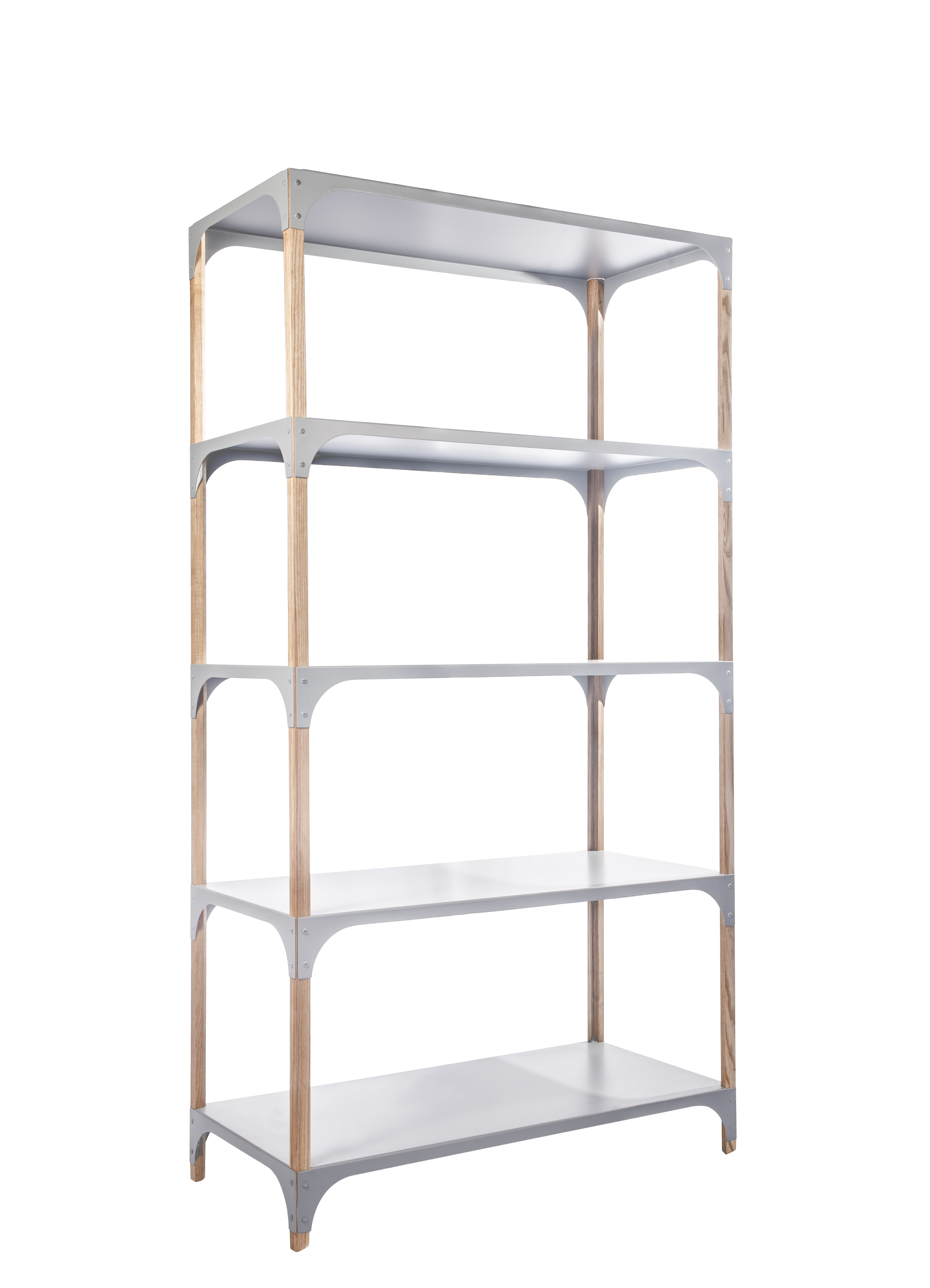 Arredamento - Scaffali e librerie - Scaffale Pop-Up - / L 85 x H 160 cm di Bibelo - Grigio / Frassino - Frassino massello, Metallo