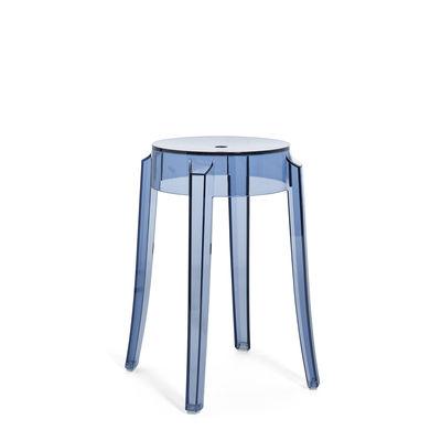 Arredamento - Sgabelli - Sgabello Charles Ghost - / H 46 cm - Policarbonato di Kartell - Blu polvere - policarbonato