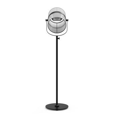 Leuchten - Stehleuchten - La Lampe Paris LED Solarleuchte / kabellos - Maiori - Weiß / Ständer schwarz - bemaltes Aluminium, Gewebe