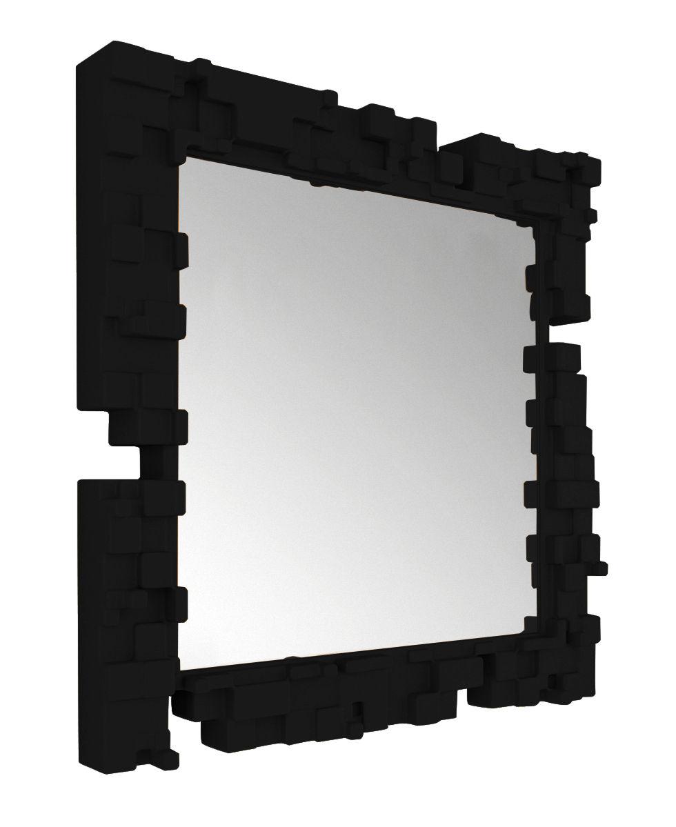 Arredamento - Specchi - Specchio murale Pixel di Slide - Nero - polyéthène recyclable