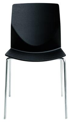 Möbel - Stühle  - Kai Stapelbarer Stuhl - Lapalma - Schwarz gemasert - getöntes Eichen-Sperrholz, mattierter Stahl