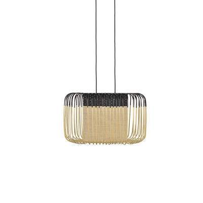 Luminaire - Suspensions - Suspension Bamboo Oval / Small - 55 x 38 x H 33 cm - Forestier - Noir - Bambou