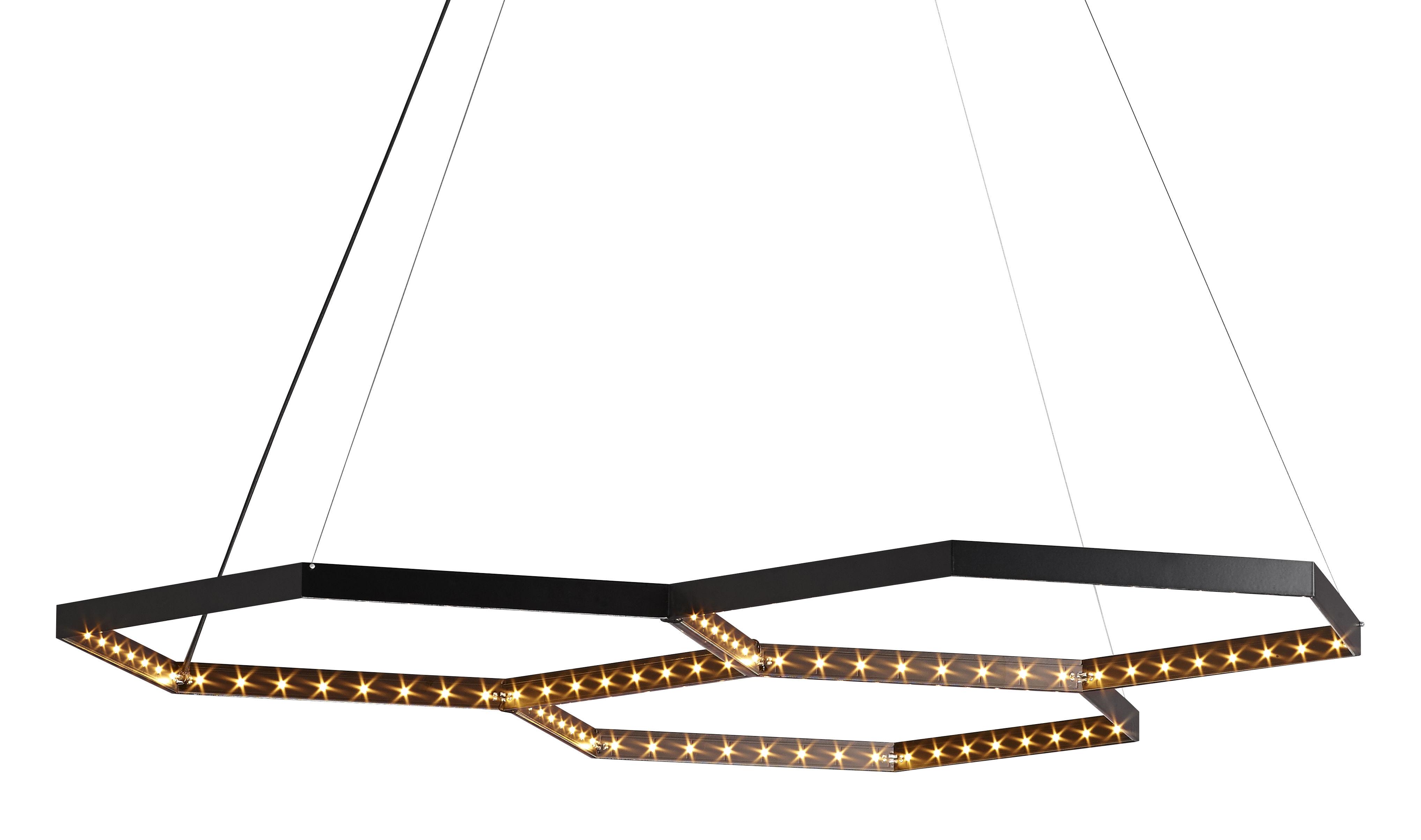 Luminaire - Suspensions - Suspension Hexa 3 / LED - 130 x 112 cm - Le Deun - Noir - Acier