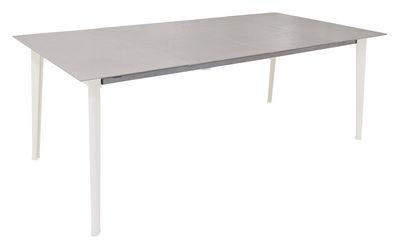 Table à rallonge Kira / Plateau grès émaillé - L 200 à 300 cm - Emu blanc en métal
