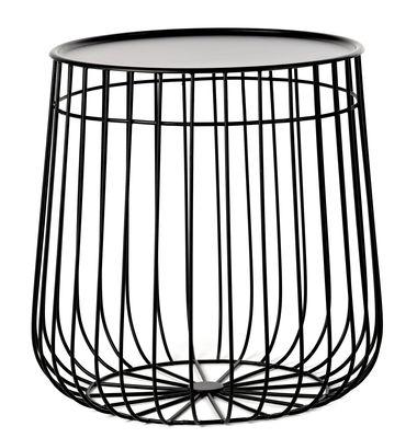 Mobilier - Tables basses - Table d'appoint Wire / Plateau amovible - Ø 40 x H 40 cm - Pols Potten - Noir - Fer, Fil de fer