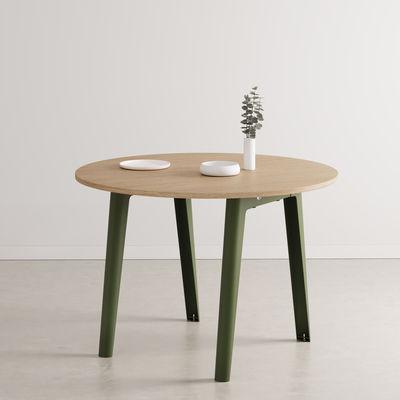 Table ronde New Modern / Ø 110 cm - Chêne éco-certifié / 4 à 6 personnes - TIPTOE vert en métal/bois