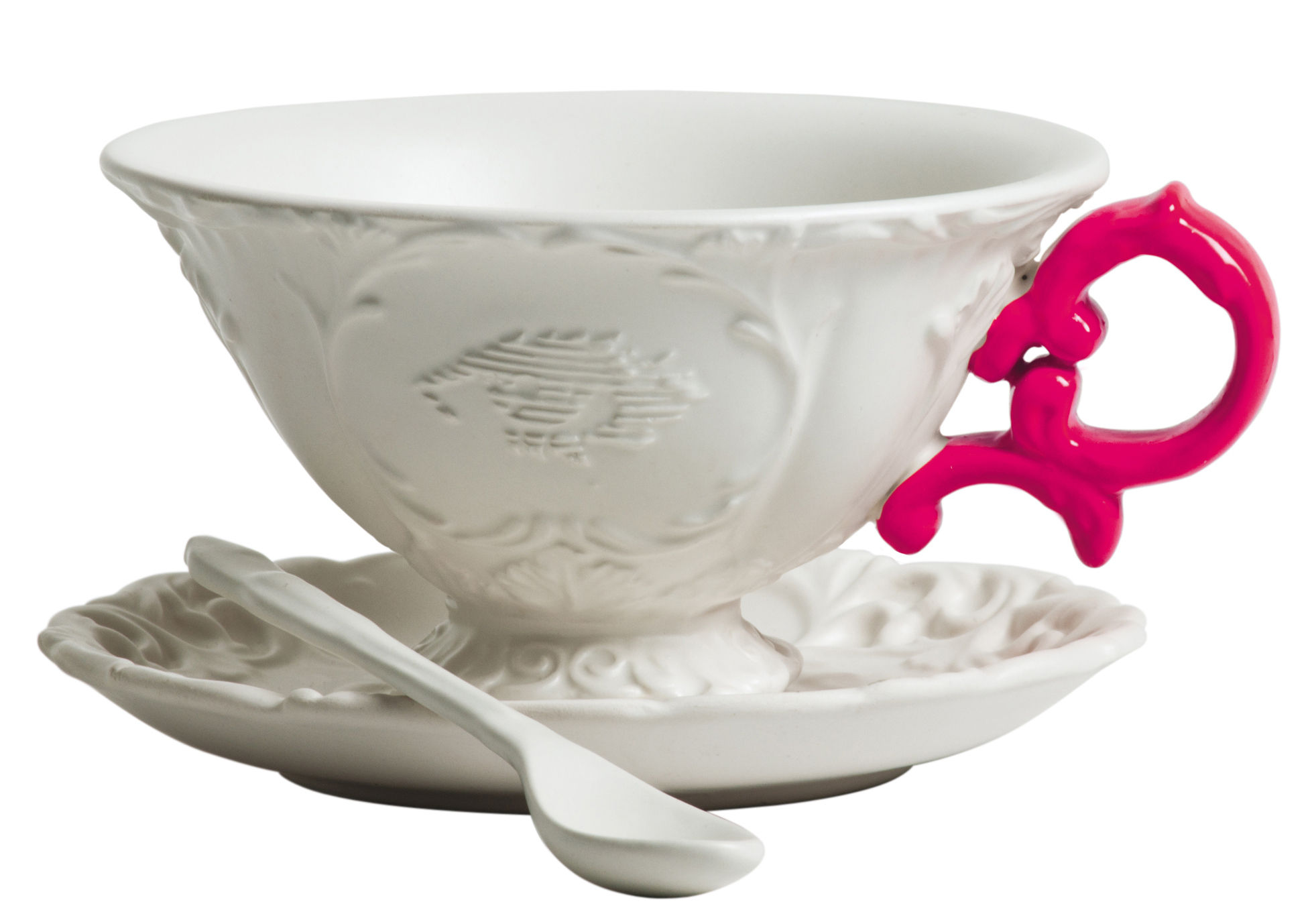 Arts de la table - Tasses et mugs - Tasse à thé I-Tea / Set tasse + soucoupe + cuillère - Seletti - Blanc / Anse fuchsia - Porcelaine
