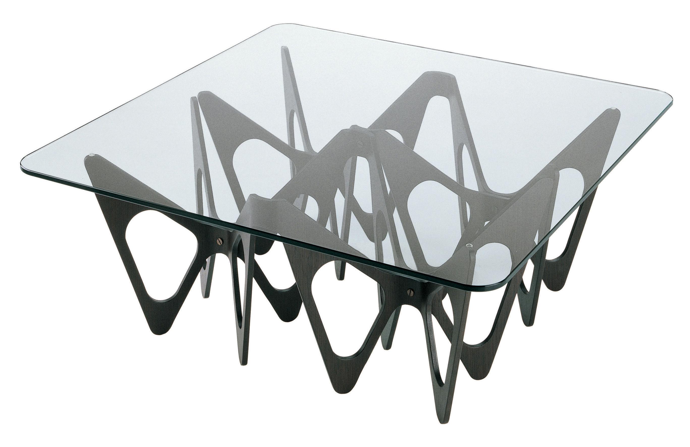 Arredamento - Tavolini  - Tavolino Butterfly - Quadrata di Zanotta - Struttura nera - Compensato rivestito rovere tinto, Vetro