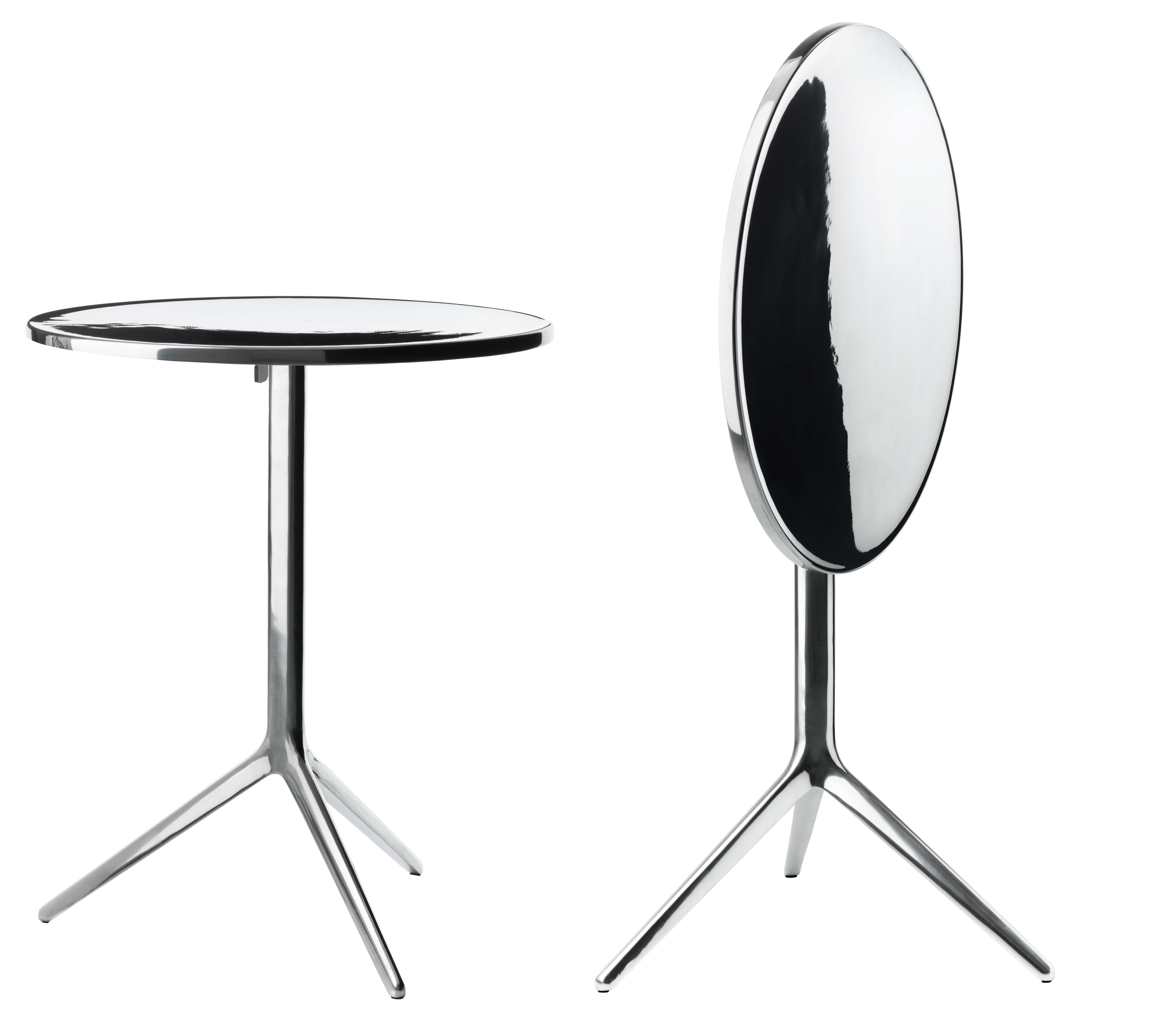 Dossiers - Design industriale - Tavolo pieghevole Central - A 72 cm x Ø 60 cm - Versione alluminio lucido di Magis - Alluminio lucido - Alluminio lucido