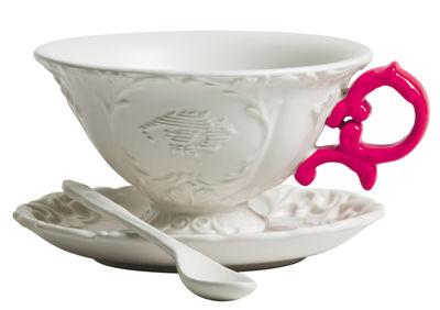 Tischkultur - Tassen und Becher - I-Tea Teetasse / Set aus Tasse, Untertasse und Löffel - Seletti - Weiß  / Griff fuchsia - Porzellan