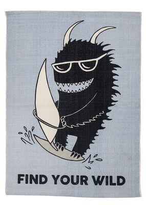 Surfer Monster Teppich / Baumwolle - L 100 cm x B 70 cm - Bloomingville - Grau,Schwarz