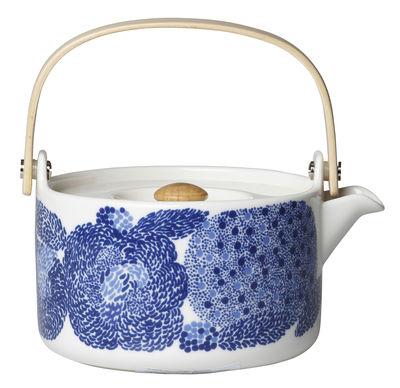 Théière Oiva Mynsteri / 70 cl - Poignée bois - Marimekko blanc,bleu en céramique