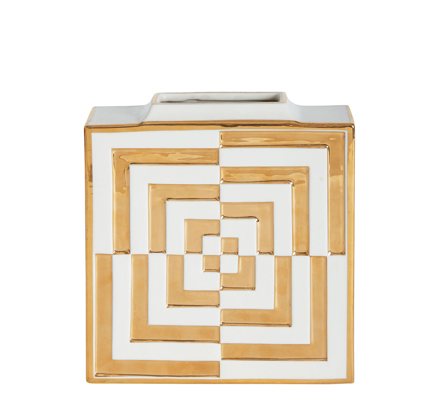Decoration - Vases - Futura Op Art Vase - / Porcelain & gold by Jonathan Adler - White & gold - China, Gold