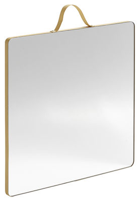 Decoration - Mirrors - Ruban Large Wall mirror - Square - 26 x 26 cm by Hay - Nude - Brass, Glass, Oak veneer, Polyester