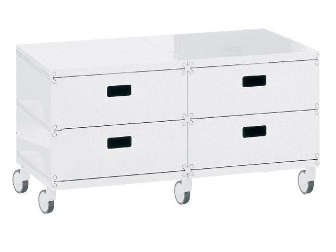 Möbel - Möbel für Teens - Plus Unit Ablage 4 Schubladen - auf Rollen - Magis - Rollen - Weiß - ABS