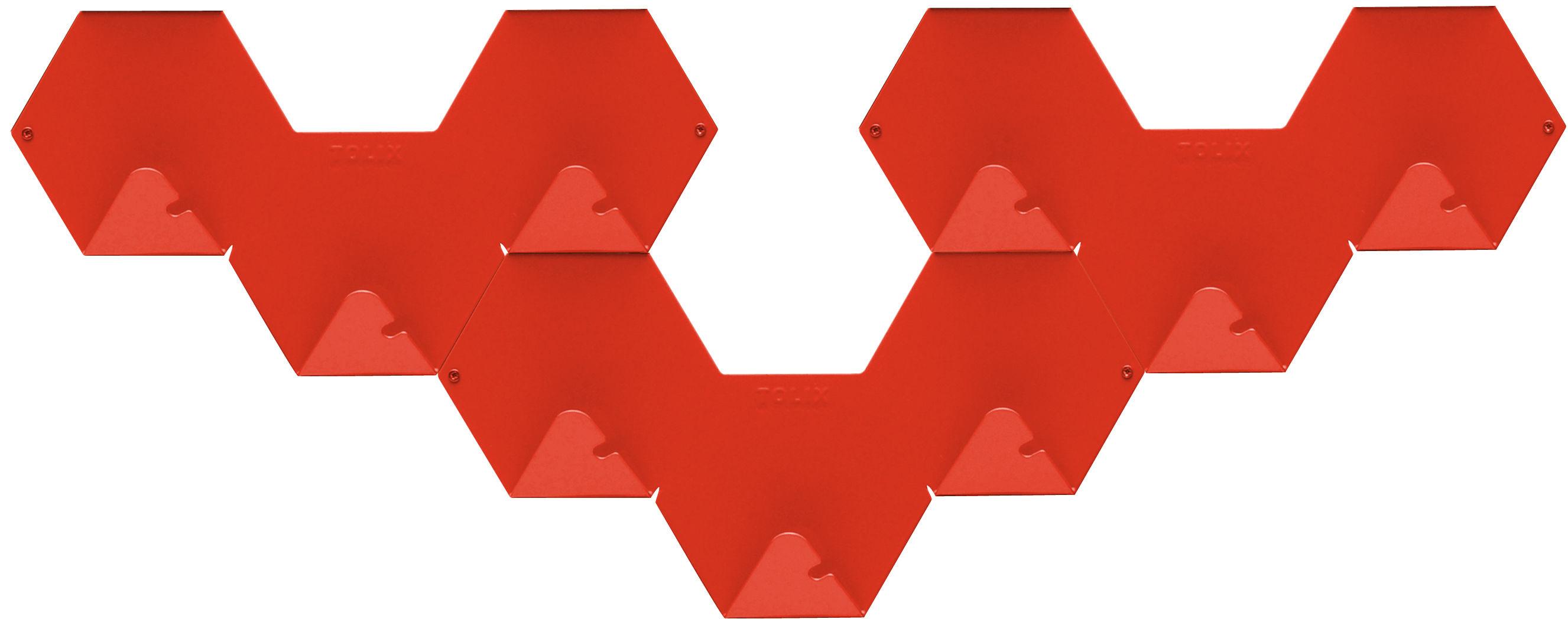 Arredamento - Appendiabiti  - Appendiabiti Simplex - confezione da 3 di Tolix - Rosso - Acciaio riciclato laccato