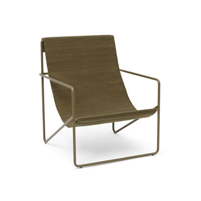 Furniture - Armchairs - Desert Armchair - / Olive structure - Recycled plastic bottles by Ferm Living - Olive metal / Plain Olive Fabric - Powder coated steel, Recycled fabric