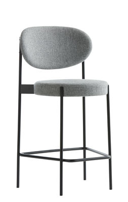Furniture - Bar Stools - Series 430 Bar stool - / Rembourré - Tissu - H 65 cm by Verpan - Tissu / Gris clair - Fabric, Foam, Stainless steel