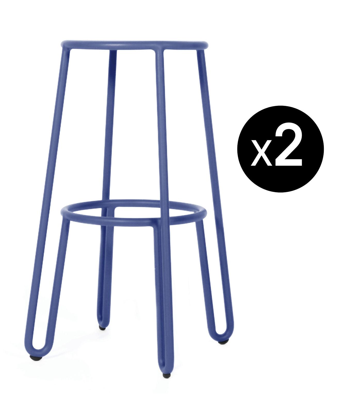Möbel - Barhocker - Huggy Barhocker / H 75 cm - 2er-Set - Maiori - Blau - Aluminium laqué époxy
