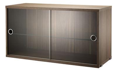 Caisson String System / 2 portes vitrées coulissantes - L 78 x P 30 cm - String Furniture transparent,noyer en verre