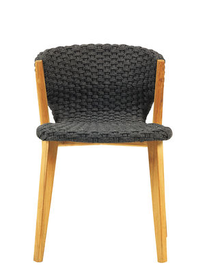 Furniture - Chairs - Knit Chair - / Synthetic rope by Ethimo - Lava Grey / Teak - Natural teak, Synthetic rope