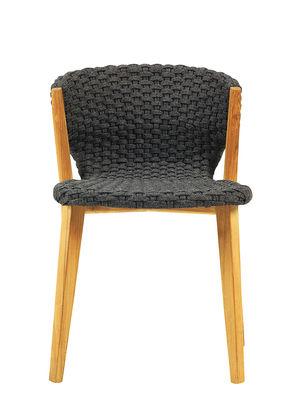 Mobilier - Chaises, fauteuils de salle à manger - Chaise Knit / Corde synthétique - Ethimo - Gris Lave / Teck - Corde synthétique, Teck naturel