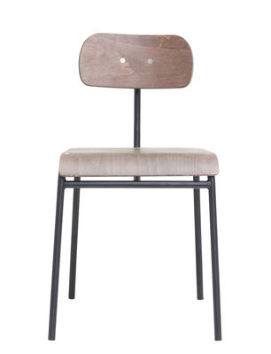 Mobilier - Chaises, fauteuils de salle à manger - Chaise School / Bois & Métal - House Doctor - Bois foncé - Bois contreplaqué, Fer