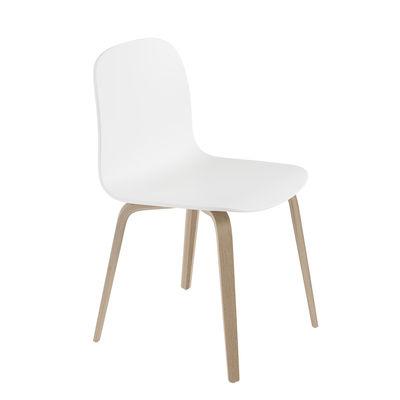 Mobilier - Chaises, fauteuils de salle à manger - Chaise Visu / Pieds bois - Muuto - Blanc / Pieds chêne - Contreplaqué