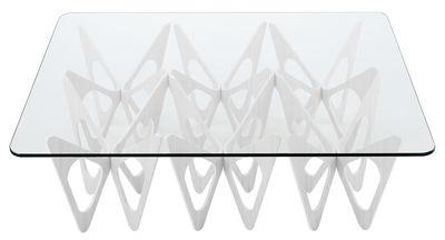 Möbel - Couchtische - Butterfly Couchtisch rechteckig - Zanotta - Fußgestell weiß - getöntes Traubeneichen-Furnier, Glas