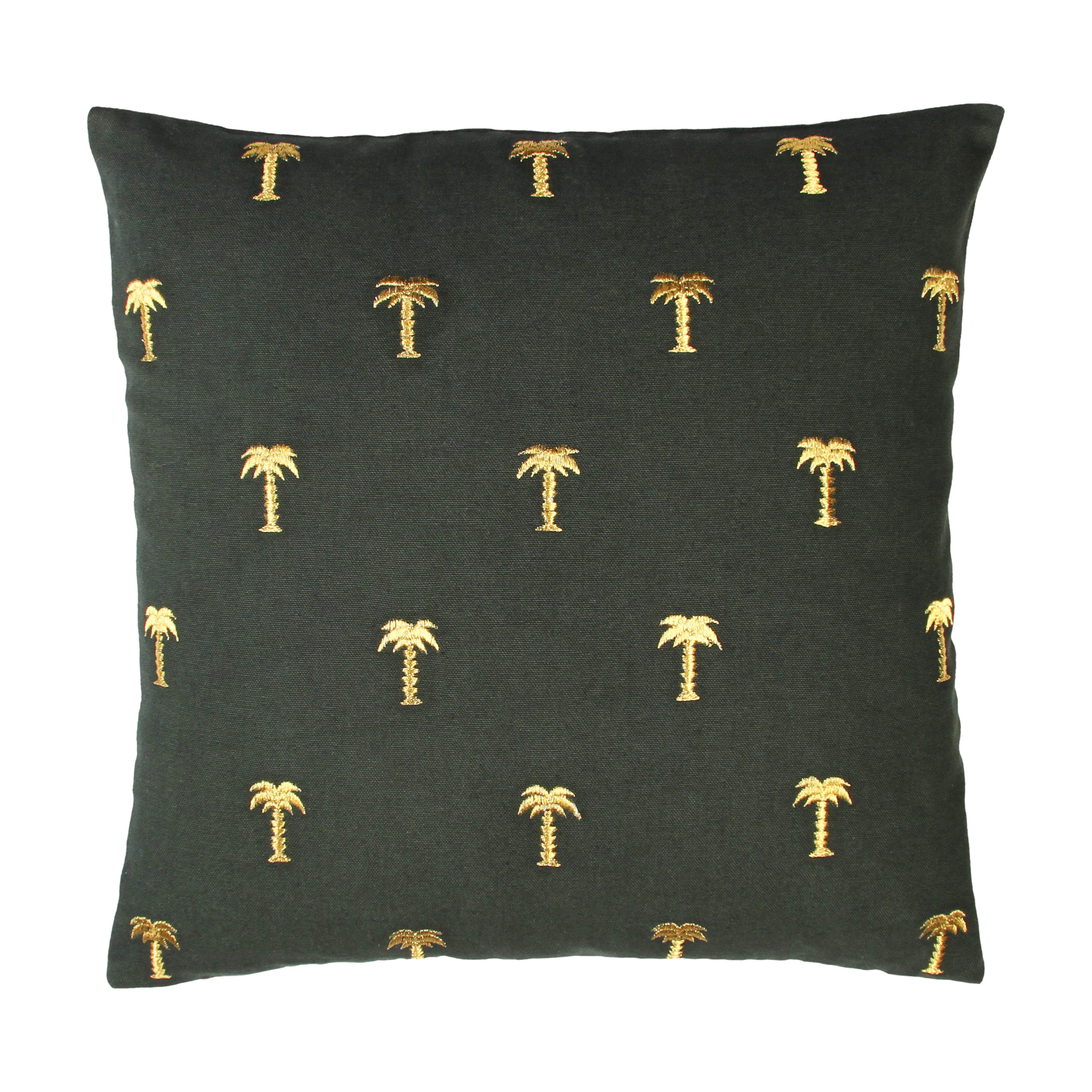 Interni - Cuscini  - Cuscino Palmier - / 40 x 40 cm di & klevering - Palma / Verde scuro & oro -  Plumes, Cotone, Lurex