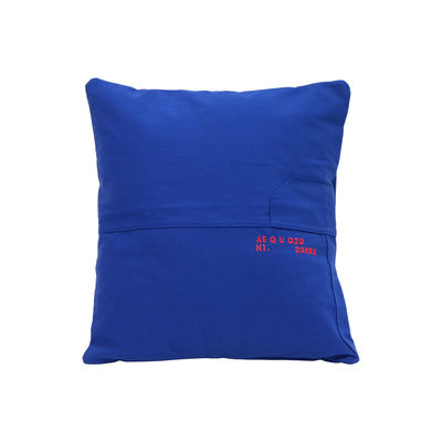 Decoration - Cushions & Poufs - Bleu de travail Cushion cover - / Recycled - 40 x 40 cm - Embroidered - Numbered edition by Aequo Design - Blue - Cotton