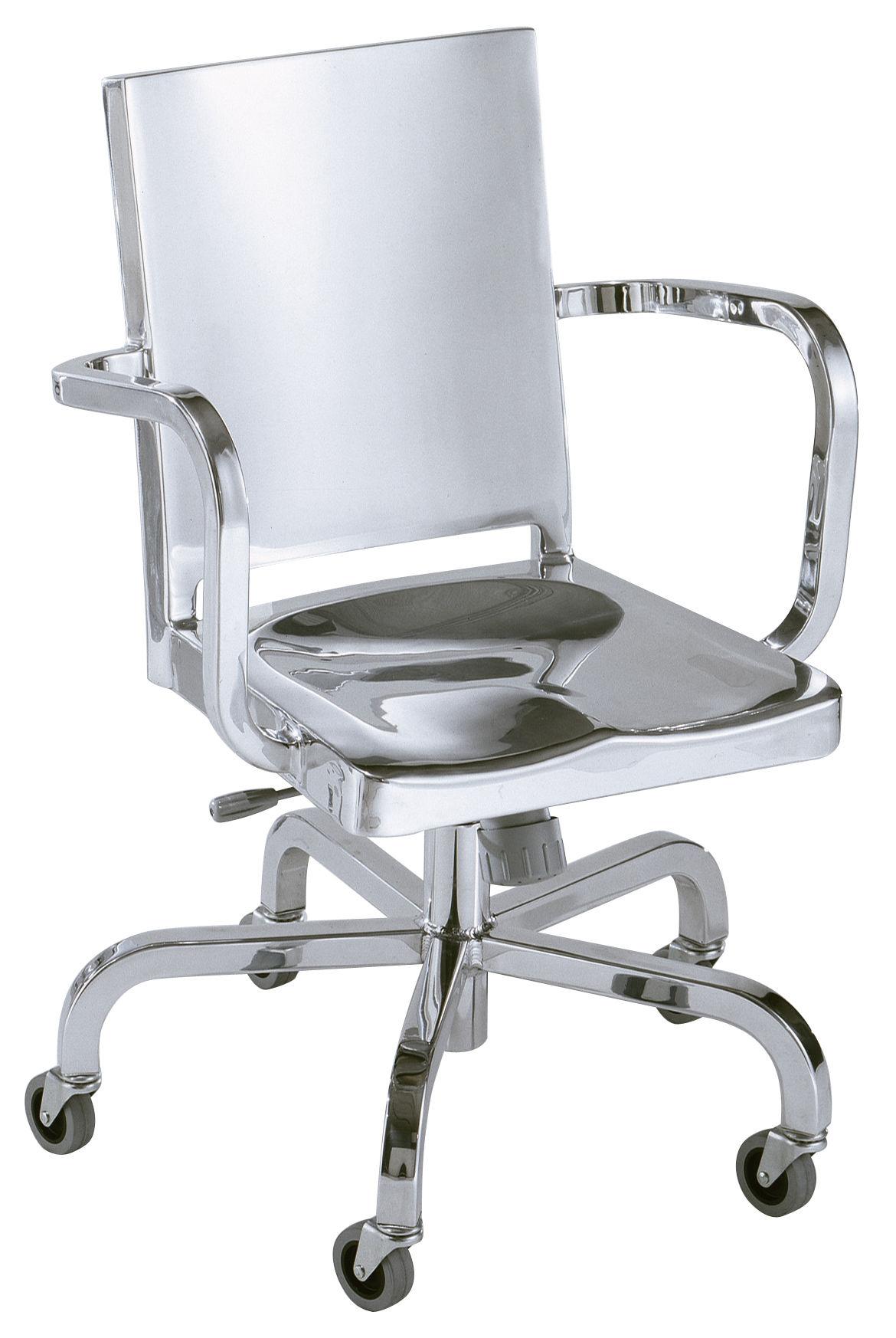 Mobilier - Fauteuils de bureau - Fauteuil à roulettes Hudson Indoor / Alu poli - Emeco - Alu poli (indoor) - Aluminium poli