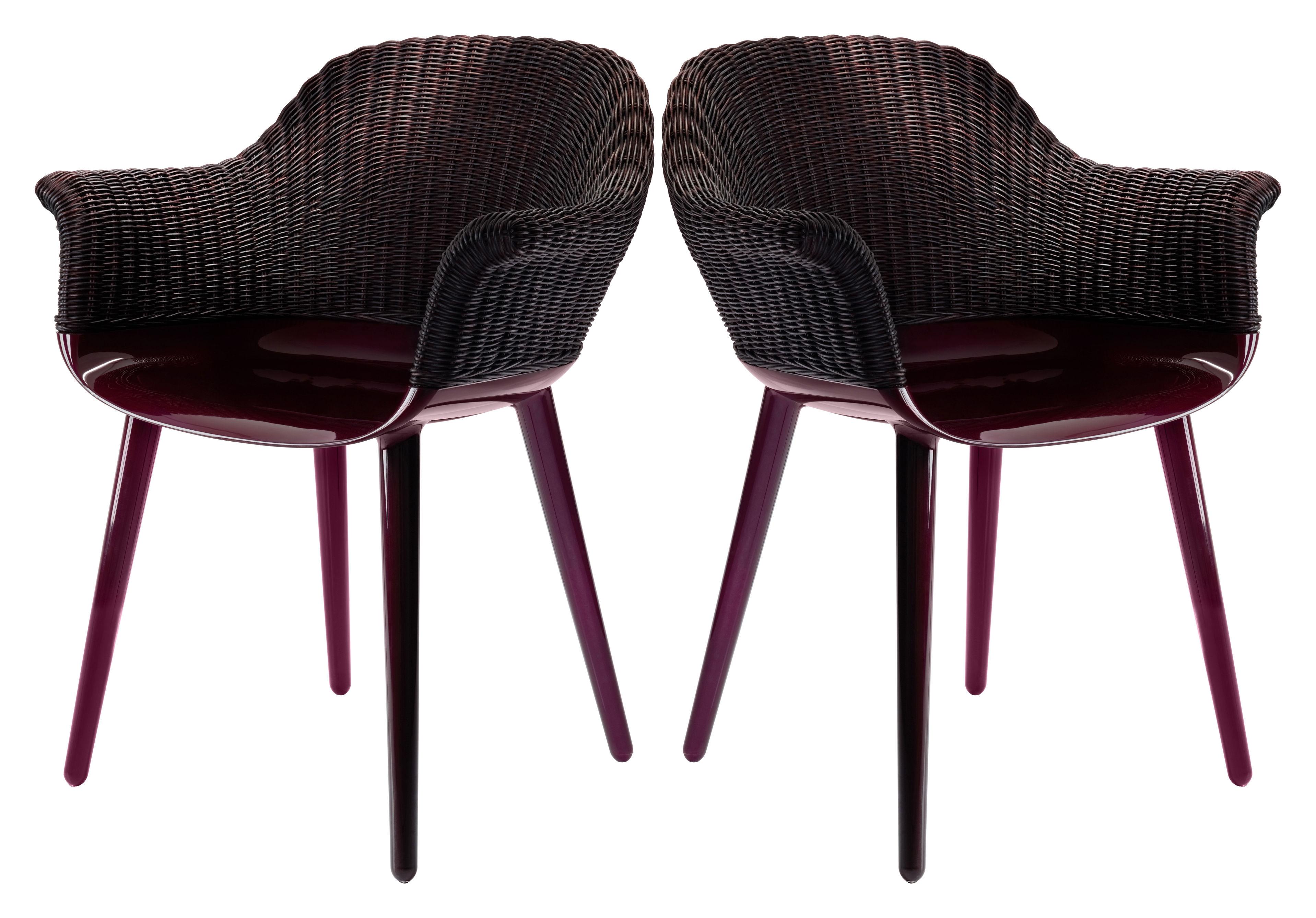 Mobilier - Chaises, fauteuils de salle à manger - Fauteuil Cyborg Cozy / Polycarbonate & dossier osier - Exclusivité - Magis - Dossier : osier prune / Piètement : prune brillant - Osier, Polycarbonate