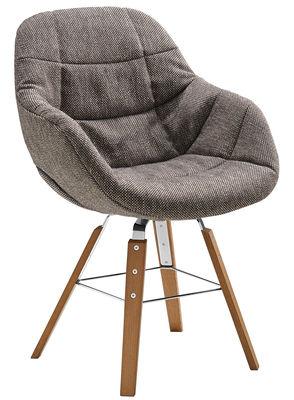 Mobilier - Chaises, fauteuils de salle à manger - Fauteuil rembourré Eva / 4 pieds bois - Tissu - Zanotta - Camaieu Marron / Beige - Polyuréthane, Rouvre, Tissu