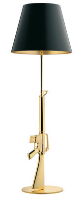 Lighting - Floor lamps - Lounge Gun Floor lamp - H 169 cm by Flos - Gold 18 K / Black - Aluminium with 18-carat gold plating, Paper coated with plastic
